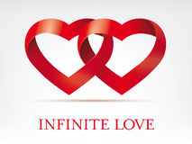 Infinity ribbon intertwined hearts vector template Royalty Free Stock Images