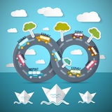 Infinity Road with Cars, Ocean Royalty Free Stock Photo