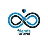 Infinity sign with two hands touching each other, infinite frien. Dship concept, forever friends vector creative logo Stock Images