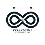 Infinity sign with two hands touching each other, infinite friendship concept, forever friends vector creative logo. stock illustration