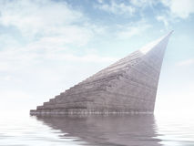 Infinity staircase monument rising from the water Stock Photos