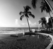 Infinity swimming pool nicaragua black & white Stock Photos