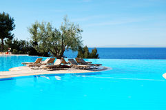 Infinity swimming pool with olive tree in the middle Royalty Free Stock Photo