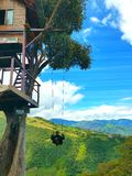 Infinity swing. Color tree house mountain top landscape Royalty Free Stock Image