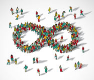 Infinity symbol crowd big group people. Color vector illustration. EPS8 Royalty Free Stock Image