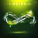 Infinity symbol at dark green background. Drawing linear decorative illustration. Modern logo presentation vector illustration