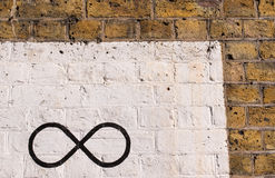 The infinity symbol drawn in black on a brick wall. Painted in white. Normal colored brick wall on the side Stock Photos