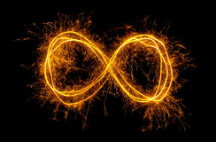 Infinity symbol. Glowing moebius strip infinity symbol isolated on black background stock images