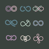 Infinity symbol icons set. Vector illustration Stock Images