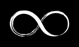 Infinity symbol ink brush stroke. Infinity symbol. Hand painted with black paint. Grunge brush stroke. Modern eternity icon. Graphic design element. Infinite Stock Image