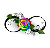 Infinity symbol with rainbow rose Stock Photography