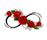 Infinity symbol with red roses Stock Photos