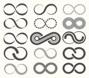 Infinity symbol set,15 signs of eternity. Royalty Free Stock Image