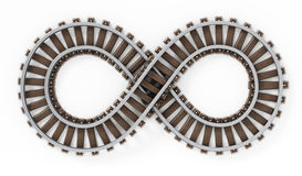 Infinity symbol shaped railroad. Infinity symbol shaped railroad isolated on white background Royalty Free Stock Photography