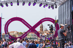 Infinity symbol on 100th Giro d`Italia stage. Alghero, Italy - May 05, 2017: Infinity symbol on 100th Giro d`Italia stage royalty free stock images