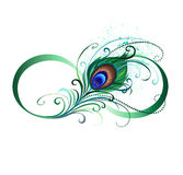 Infinity Symbol With Peacock Feather Royalty Free Stock Photos