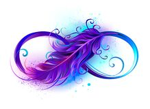 Infinity Symbol With Purple Feather Stock Photos