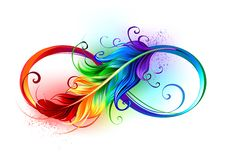 Free Infinity Symbol With Rainbow Feather Royalty Free Stock Images - 140951719