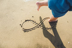 Infinity symbol written on sand. Infinity symbol written on Sand on the beach, ocean stock photography