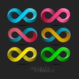 Infinity Symbols Set. Vector Endless Icons on Dark Background. Infinity Symbols Set. Colorful Vector Endless Icons on Dark Background vector illustration
