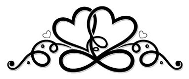 Infinity with two hearts. Symbol of love royalty free illustration