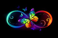 Free Infinity With Rainbow Butterfly On Black Background Stock Photos - 191066893