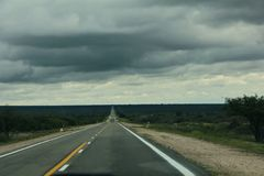 Infinte route to the horizon la Rioja Argentina. In a cloudy day Royalty Free Stock Photography