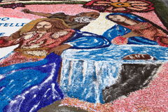 Infiorata of Genzano. GENZANO, ITALY - JUNE 17: Floral Carpet with Jesus Christ and Virgin Mary on June 17, 2012 in Genzano, Italy. This event takes place every Royalty Free Stock Photos