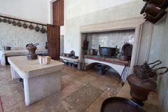 Infirmary Kitchen - National Palace of Mafra (Portugal) Royalty Free Stock Photo