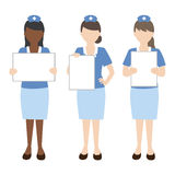 Infirmière avec le signe blanc Photo stock