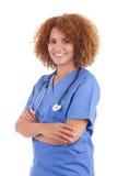 Infirmière d'afro-américain tenant un stéthoscope - personnes de race noire Image stock