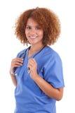 Infirmière d'afro-américain tenant un stéthoscope - personnes de race noire Photo stock