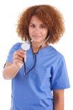Infirmière d'afro-américain tenant un stéthoscope - personnes de race noire Images stock