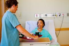 Infirmière fournissant le repas au patient photographie stock libre de droits