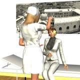 Infirmière hypnotisant la jeune femme illustration stock