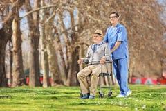 Infirmière masculine poussant un aîné dans le fauteuil roulant dehors Photographie stock