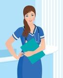 Infirmière ou docteur de sourire au fond d'intérieur de clinique Image libre de droits