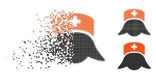 Infirmière tramée de disparition Head Icon d'hôpital de Pixelated illustration stock