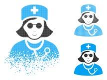 Infirmière tramée endommagée Icon d'abat-jour de Pixelated avec le visage illustration stock