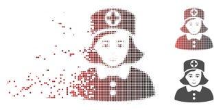 Infirmière tramée réduite en fragments Icon de pixel Photographie stock