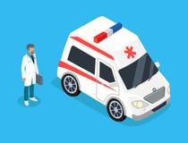 Infirmier avec le kit de médecine et la voiture d'ambulance illustration de vecteur