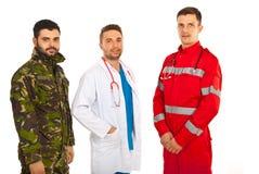 Infirmier, docteur et militaires Photos stock
