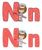 Infirmière de la lettre N Photo libre de droits