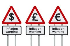 inflaci drogowego znaka ostrzeżenie Fotografia Royalty Free