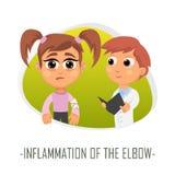 Inflamación del concepto médico del codo Ilustración del vector ilustración del vector