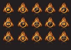 Inflame ícones ilustração stock