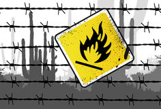Inflammable Sign Vector Illust. Inflammable Sign Barbed wire Vector Illustration Stock Image