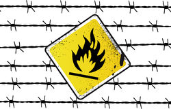 Inflammable Sign Vector Illust. Inflammable Sign Barbed wire Vector Illustration Royalty Free Stock Photo