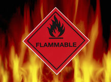 Inflammable - signal d'avertissement photo libre de droits