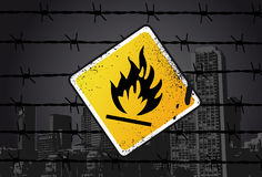 Inflammable Street Sign. Vector Illustration Royalty Free Stock Image